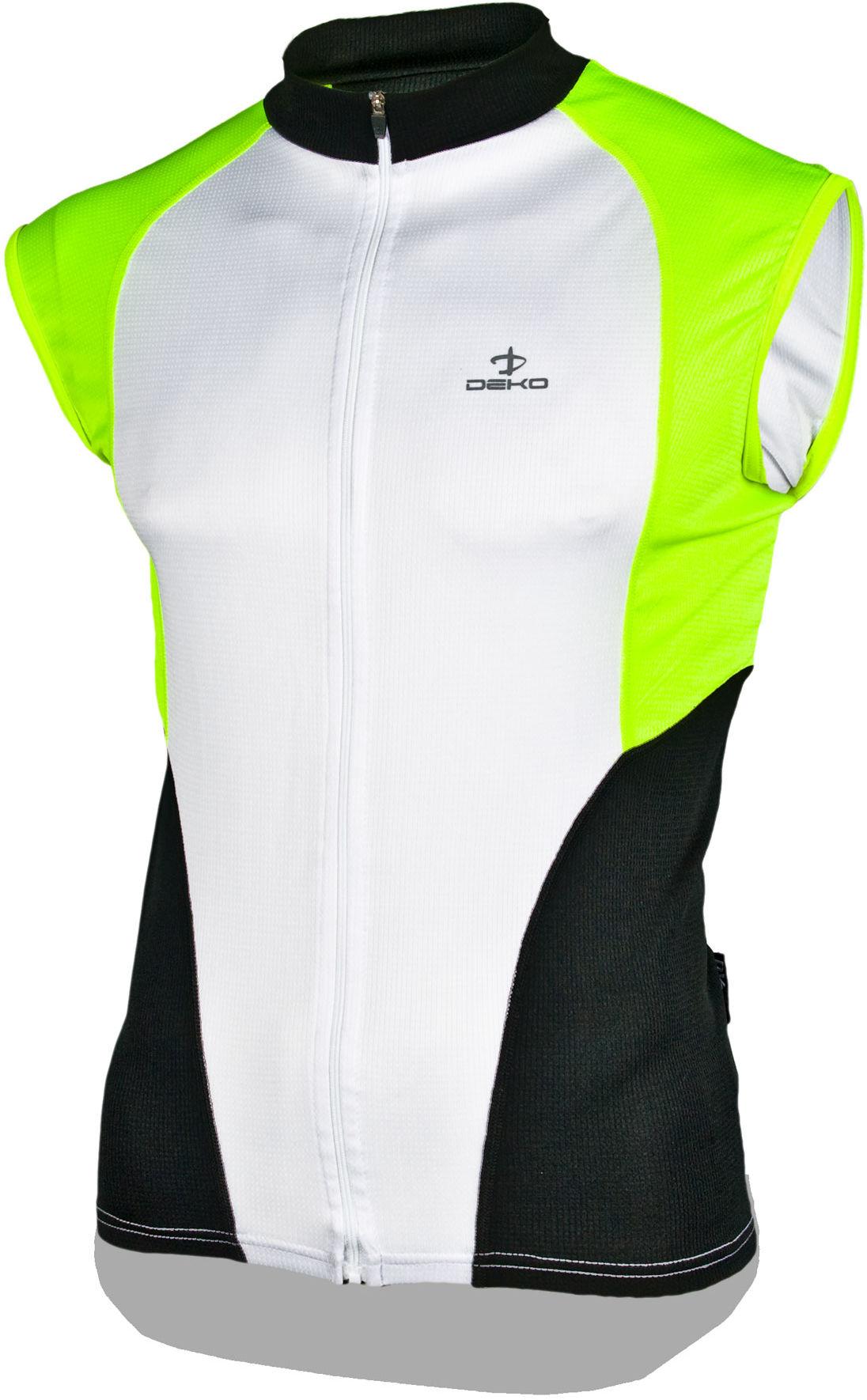 DEKO HAITI II męska koszulka rowerowa bez rękawków, biało-fluor Rozmiar: L,deko-haiti-2-fluo