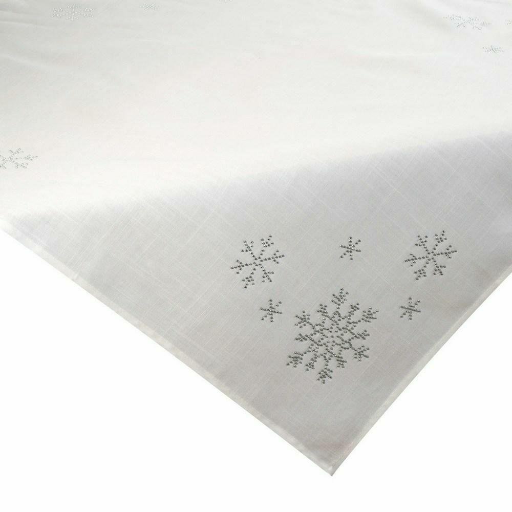Obrus świąteczny 85x85 Judith ekri śnieżynki cekinki Eurofirany