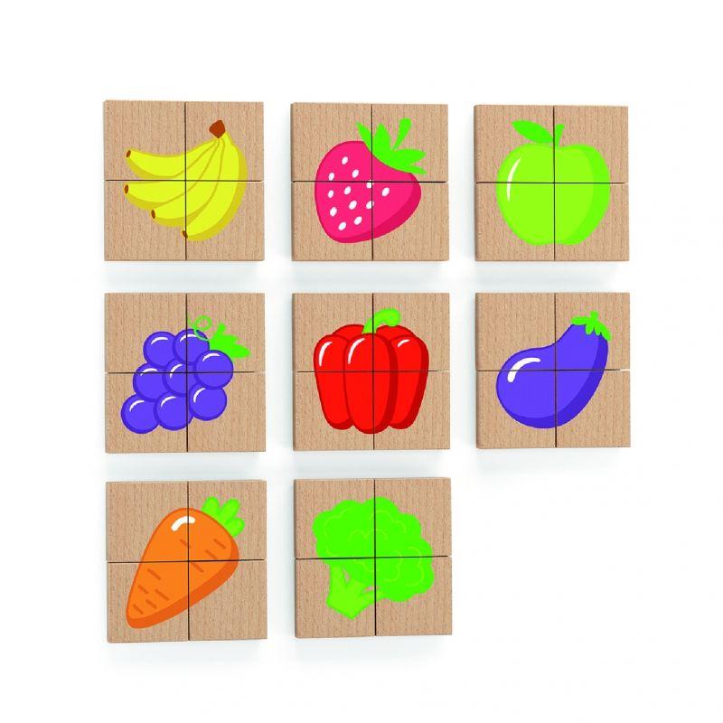 Drewniane Puzzle Magnetyczne Owoce Warzywa Układanka Viga Toys LK