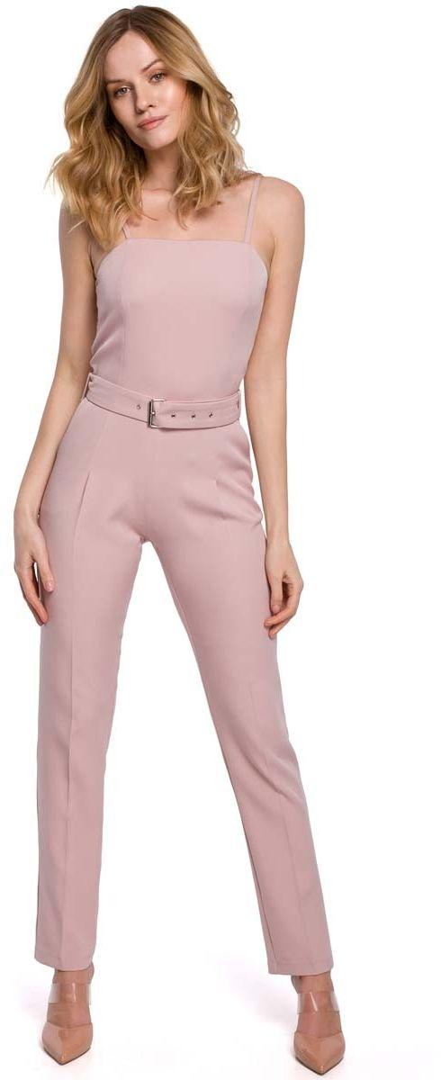 Elegancki kombinezon na ramiączkach - różowy