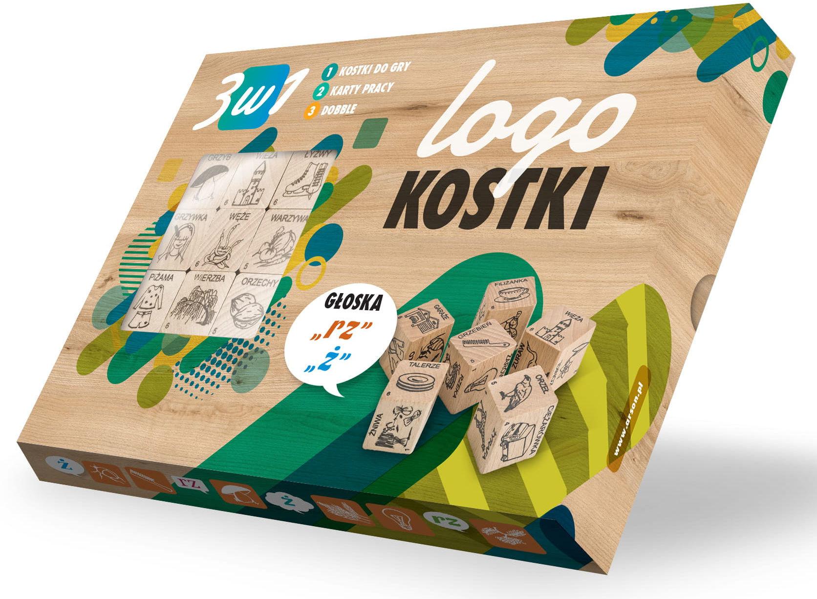 """Logokostki- Głoska """"Ż"""" 3w1"""