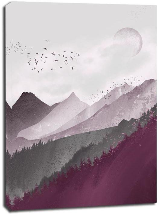 Różowe góry - obraz na płótnie wymiar do wyboru: 50x70 cm
