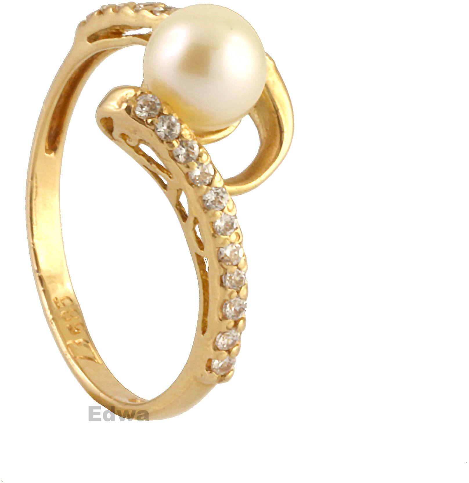 Pierścionek złoty z Perłą i cyrkoniami pr.585. roz.12+