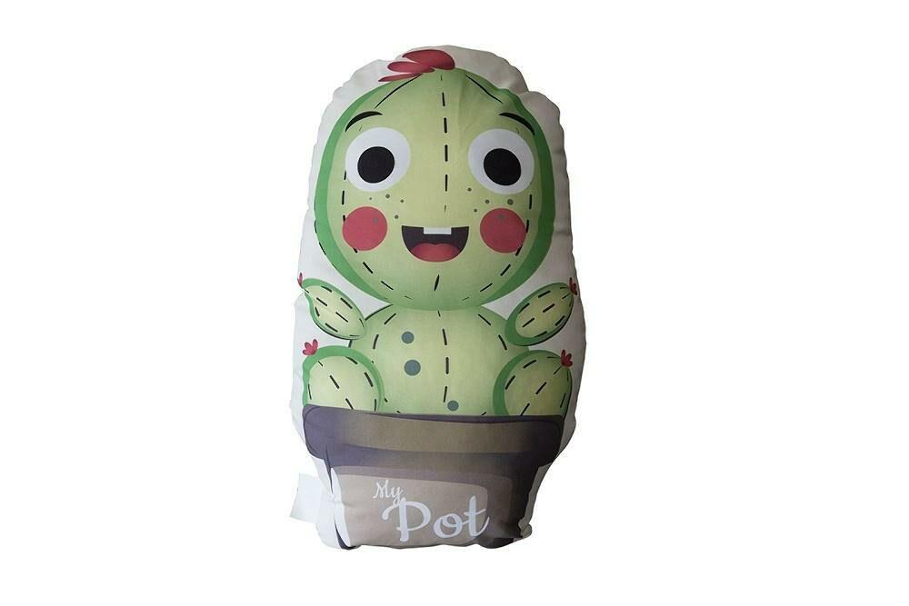 Poduszka przytulanka 40x40 D-101 Kaktus zielony szary My Pot kształtka doniczka dekoracyjna
