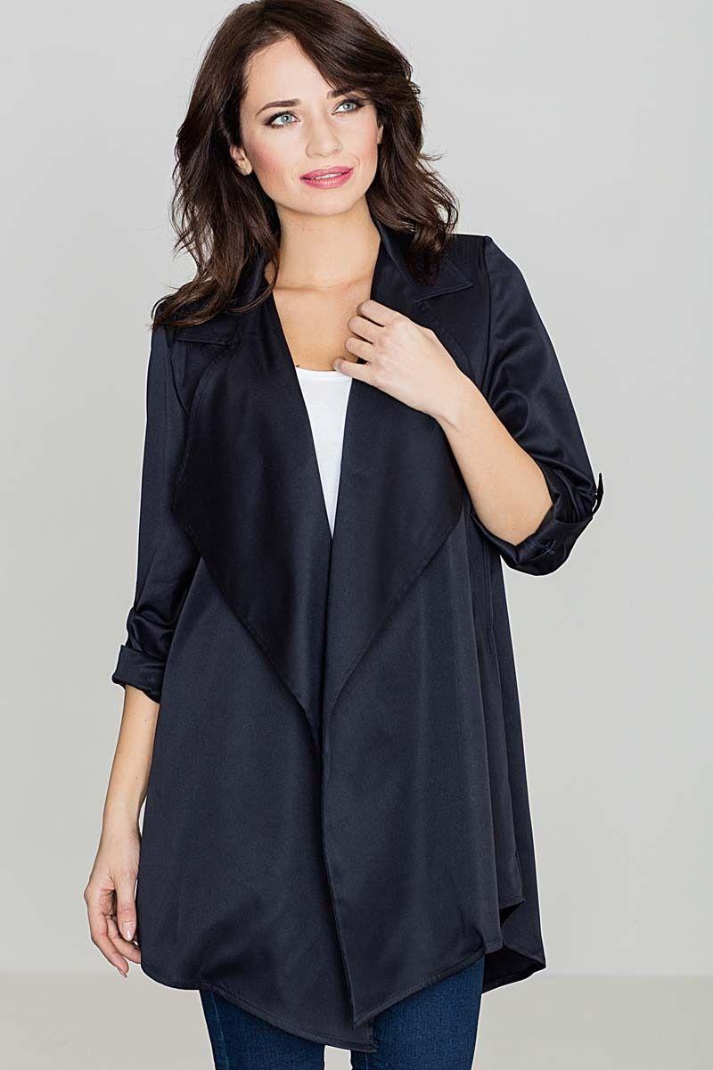 Granatowy luźny krótki płaszcz bez zapięcia