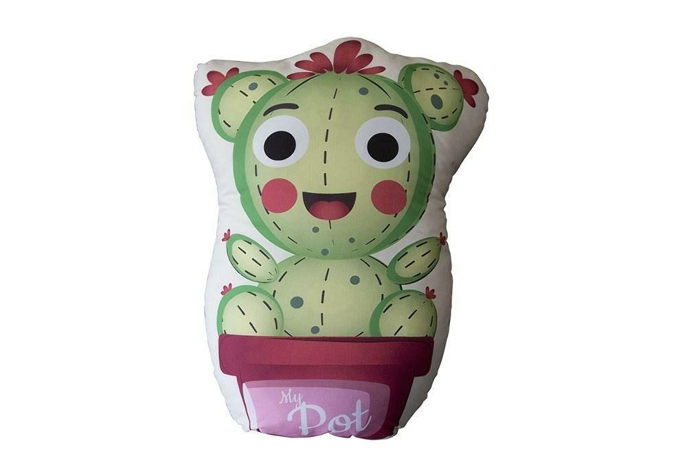 Poduszka przytulanka 40x40 D-102 Kaktus zielony różowy My Pot kształtka doniczka dekoracyjna