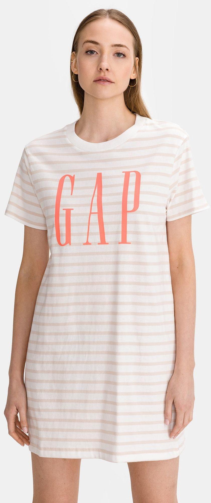 GAP biały w paski sukienka Logo T-shirt Dress