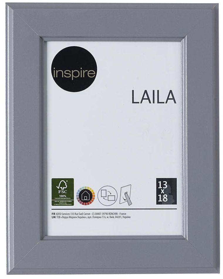 Ramka na zdjęcia Laila 13 x 18 cm szara MDF Inspire