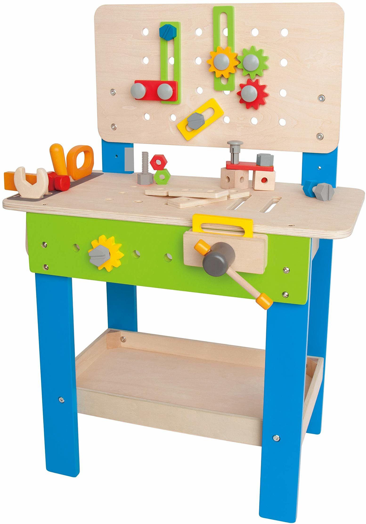 Hape Meister-stół warsztatowy nagradzana ławka narzędziowa dla dzieci z drewna, zabawka kreatywna budowa, regulacja wysokości, 35-częściowy warsztat dla małych dzieci