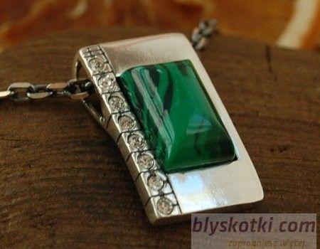 Degli - srebrny wisior malachit z kryształkami