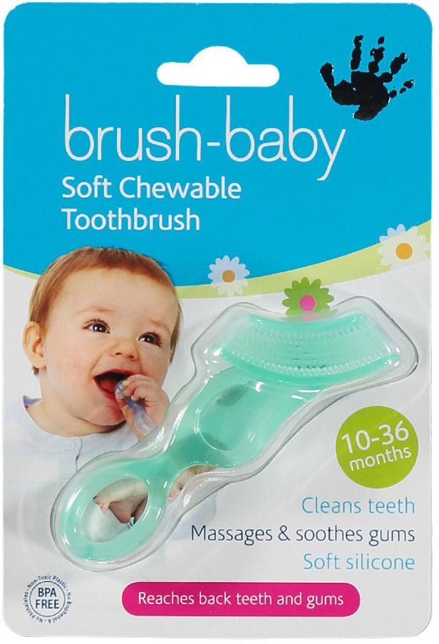 BRUSH-BABY Chewable Toothbrush & Teether - szczoteczka z gryzakiem dla dzieci do 3 roku życia