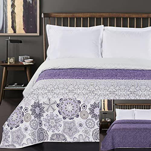 DecoKing Narzuta na łóżko 170 x 210 cm w abstrakcyjny wzór dwustronna Alhambra liliowy fioletowy biały liliowy łatwa w pielęgnacji