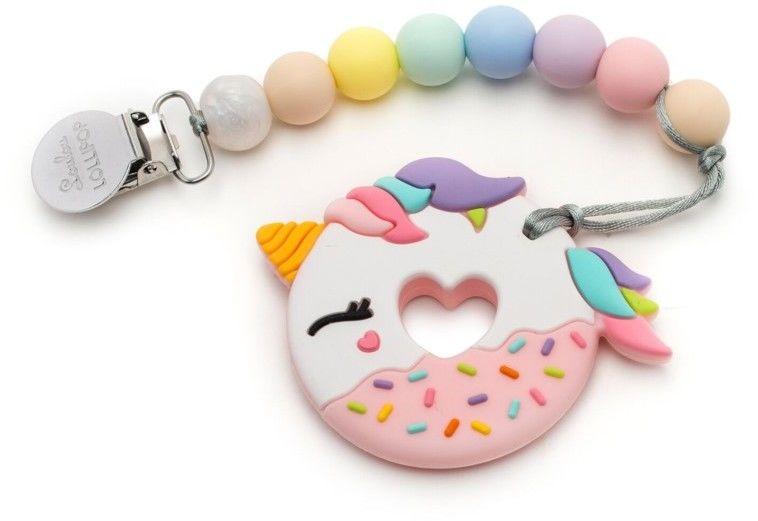 Loulou Lollipop - Gryzak Silikonowy z Zawieszką Dount Pink