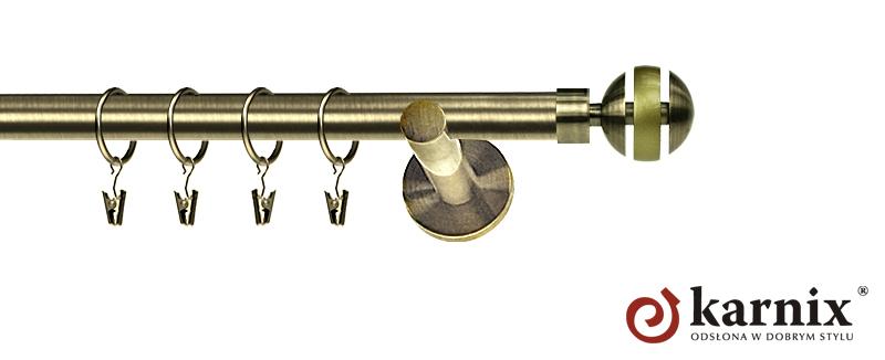 Karnisz nowoczesny NEO pojedynczy 16mm Glory antyk mosiądz
