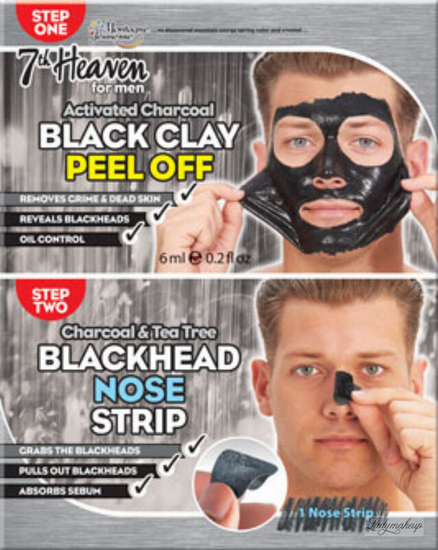 7th Heaven (Montagne Jeunesse) - Men Duo Peel Off - Black Clay + Blackhead T-Zone - Zestaw do oczyszczania twarzy dla mężczyzn Peel Off - Maska Black Clay + Plaster Blackhead Nose