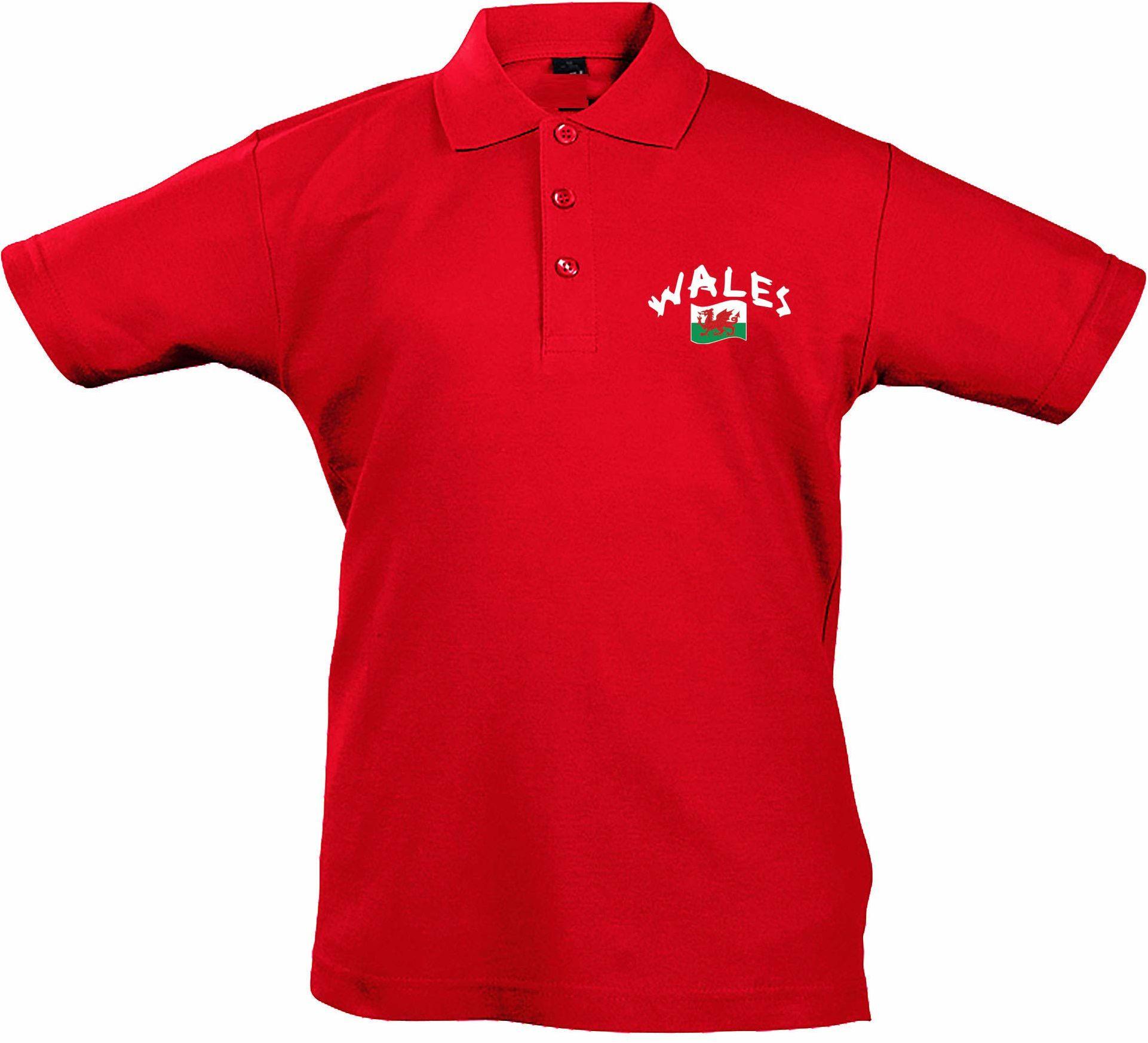 Supportershop Rugby Pays De Galles dziecięca koszulka polo dla dzieci, uniseks czerwony czerwony FR : L (Taille Fabricant : 8 Jahre)