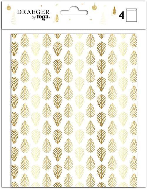 TOGA woreczek prezentowy, biały i złoty, 13,5 x 16,5 cm, zestaw 5-częściowy