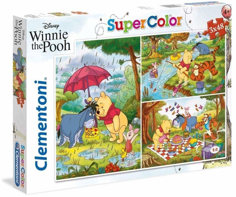 Clementoni 25232 25232-Supercolor Puzzle Kubuś Puchatek - 3 x 48 sztuk Disney, wielokolorowe