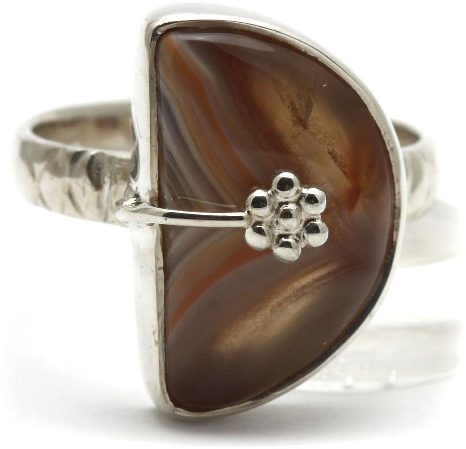Kuźnia Srebra - Pierścionek srebrny, rozm. 14, Pomarańczowy Agat, 5g, model