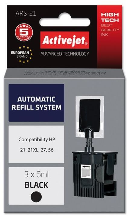 Automatyczny system napełniania Activejet ARS-21 (do drukarki Hewlett Packard, C9351 no21, C8727 no27, C6656 no56 3x6ml czarny)