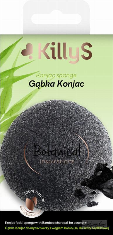 KillyS - Konjac Sponge - Naturalna gąbka do mycia twarzy z węglem bambusowym - SKÓRA TRĄDZIKOWA