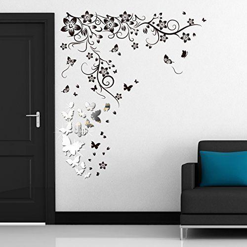 Walplus WSM2057 14 lustrzane motyle Plus WS9022 motyl winorośl sztuka ścienna murale żłobek biuro dekoracja domu