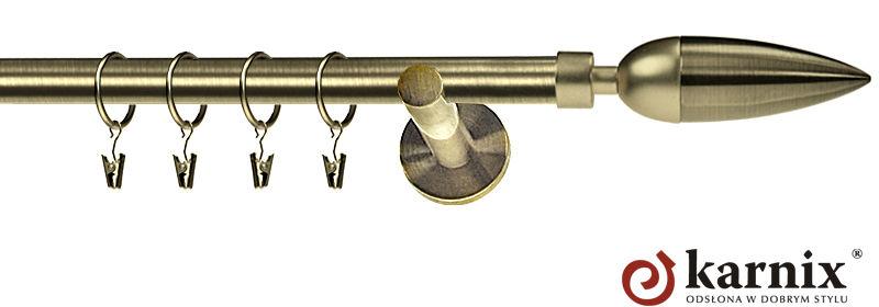 Karnisz nowoczesny NEO pojedynczy 16mm Kazur antyk mosiądz