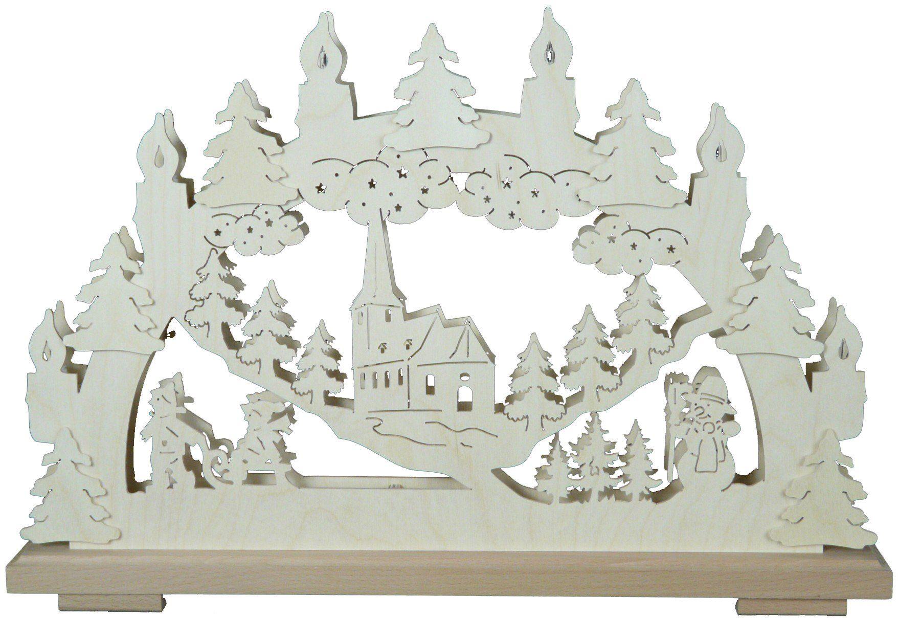 SchwibboLa SB 1-123 Erzgebirgischer podwójnie podświetlany świecznik łukowy z certyfikatem SB 1-123, 50 x 30 cm