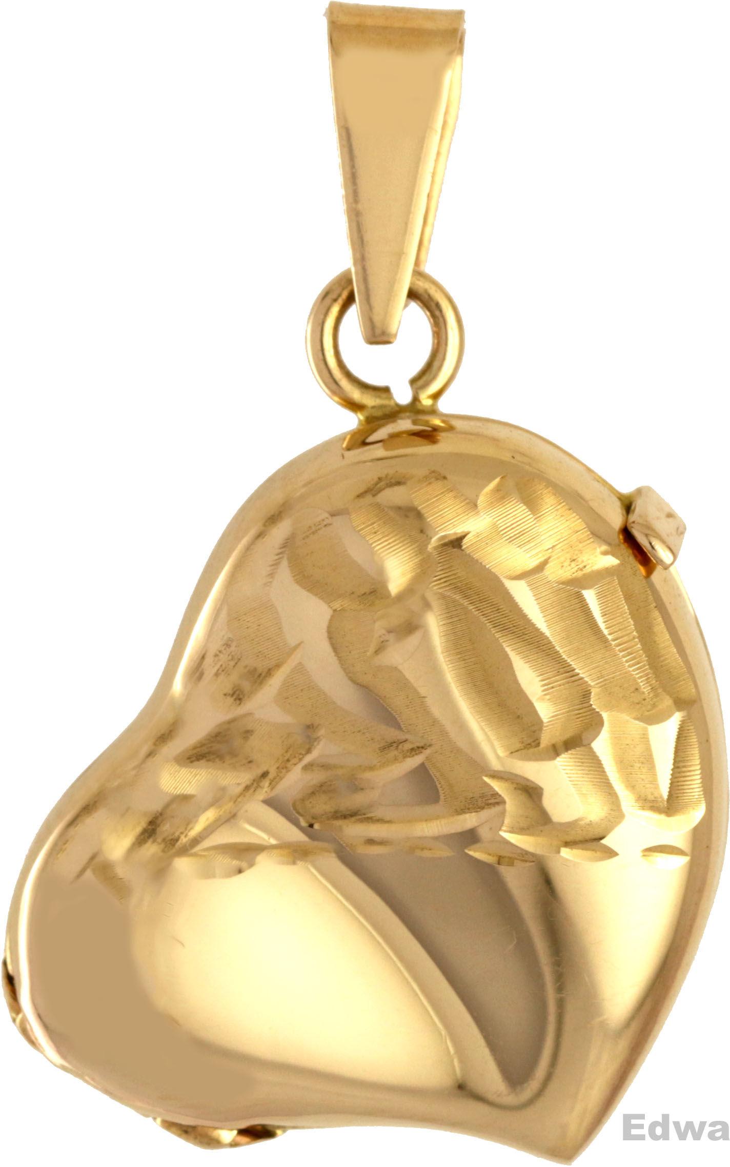Zawieszka złota medalion, otwierane serce pr.585