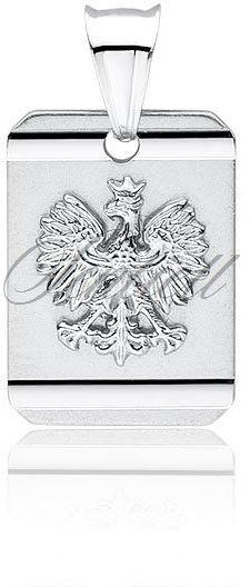 Srebrny diamentowany medalik pr.925 - orzeł w koronie - polski znak narodowy