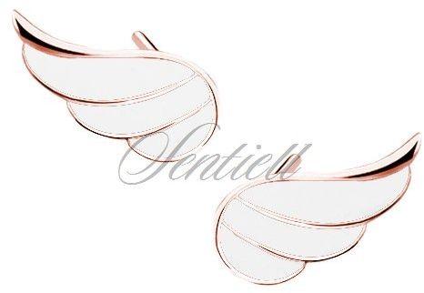 Srebrne (925) pozłacane kolczyki skrzydła z białą emalią - różowe złoto - biała różowe złoto