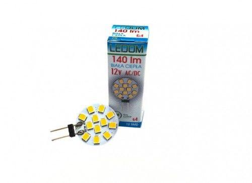 Żarówka LED LEDOM G4 2W 12V 3000K talerzyk biała ciepła