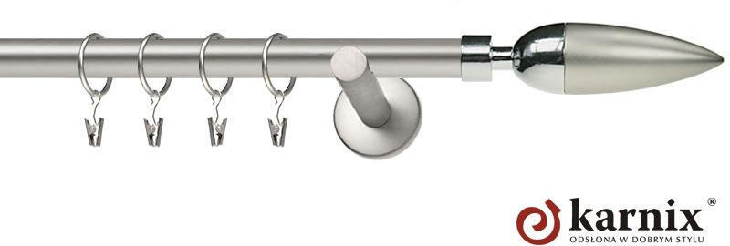 Karnisz nowoczesny NEO pojedynczy 16mm Kazur chrom mat