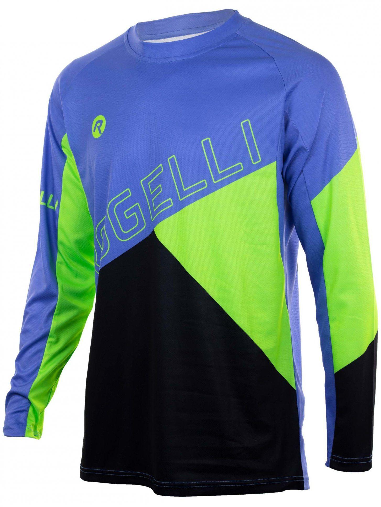 ROGELLI ADVENTURE męska koszulka rowerowa MTB z długim rekawem niebiesko-fluorowa 060.111 Rozmiar: 2XL,ADVENTURE 060.111