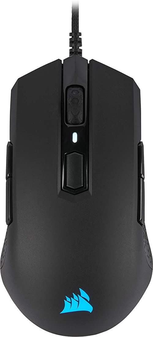 Corsair M55 PRO RGB mysz optyczna dla graczy, używana obustronnie (czujnik optyczny 12 400 DPI, lekki, 8 w pełni programowalnych przycisków, podświetlenie LED RGB