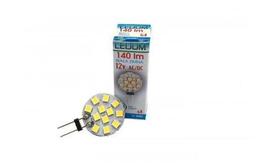 Żarówka LED LEDOM G4 2W 12V 6000K talerzyk biała zimna