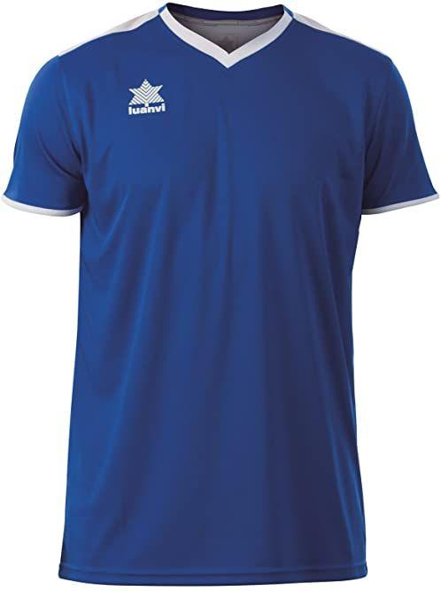 Luanvi Męski T-shirt Match z krótkimi rękawami. niebieski niebieski 3XS