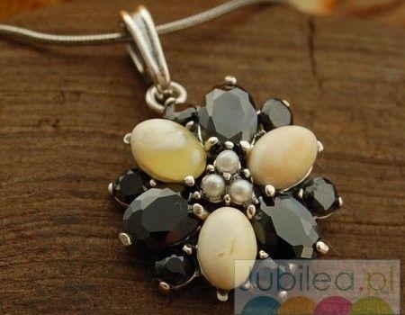 Amata - srebrny wisior onyksy, perły i bursztyny