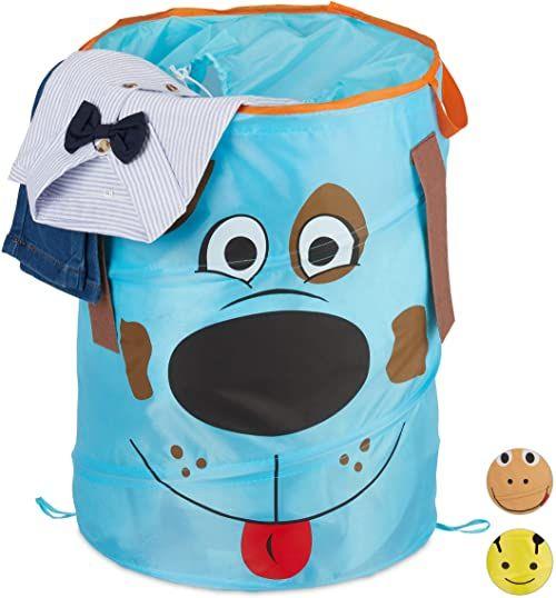 Relaxdays Kosz na pranie dla dzieci, składany, 39 l, kosz na zabawki, wys. x gł.: 43 x 34 cm, niebieski, 43 x 34 cm