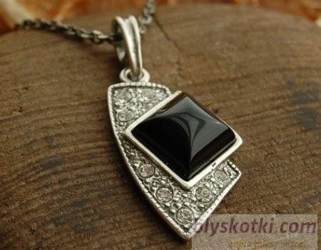 Enklawa - srebrny wisiorek z onyksem