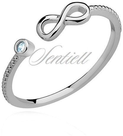 Srebrny delikatny pierścionek pr.925 cyrkonia akwamarynowa - nieskończoność