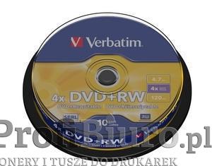 Płyty Verbatim DVD+RW 4,7GB 4x - Cake Box - 10szt.
