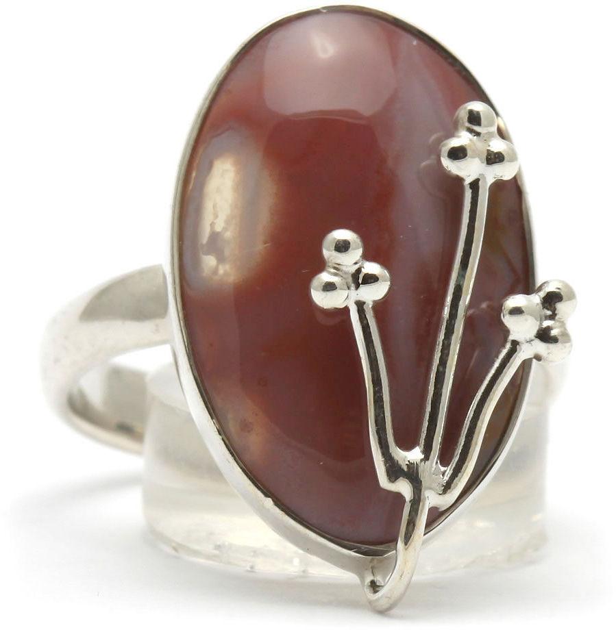 Kuźnia Srebra - Pierścionek srebrny, rozm. 12, Pomarańczowy Agat, 4g, model