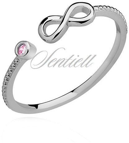 Srebrny delikatny pierścionek pr.925 cyrkonia różowa - nieskończoność