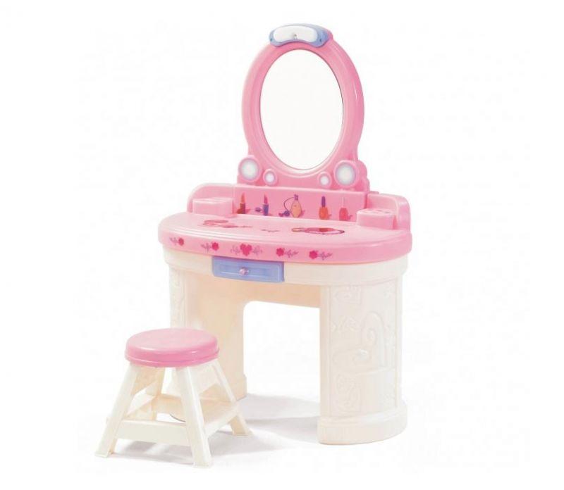 STEP2 Toaletka dla dziewczynki z lustrem z oświetleniem biała różowa LK
