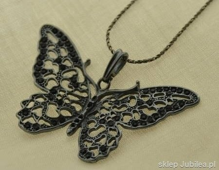 Czarny motyl - srebrny wisior z onyksami