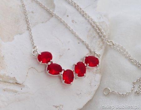 First look - srebrny naszyjnik z rubinami