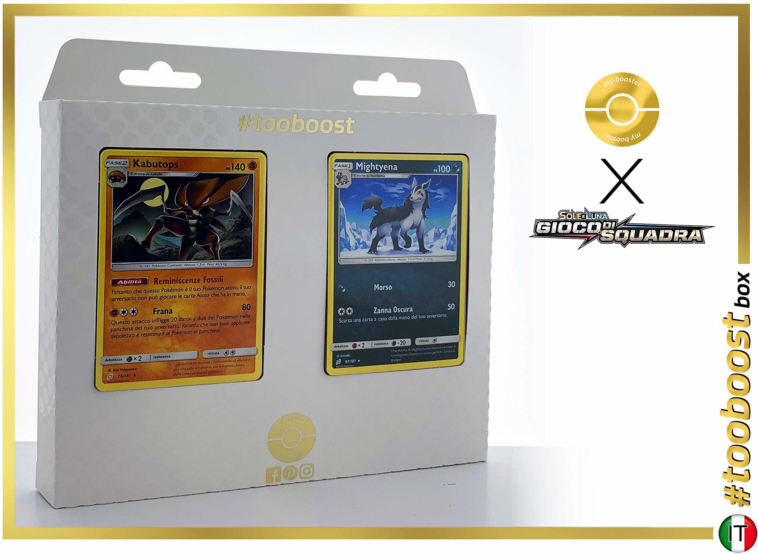 Kabustops 78/181 i Mightyena (Magnayen) 87/181 - #tooboost X Sol E & Luna 9 Gioco di Squadra - pudełko z 10 włoskimi kartkami Pokémon + 1 Pokémon-Goodie