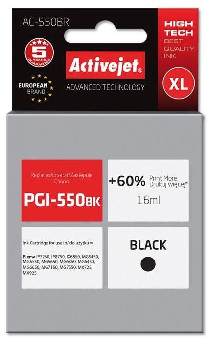 Tusz Activejet AC-550BR (zamiennik Canon PGI-550BK; Premium; 16 ml; czarny)
