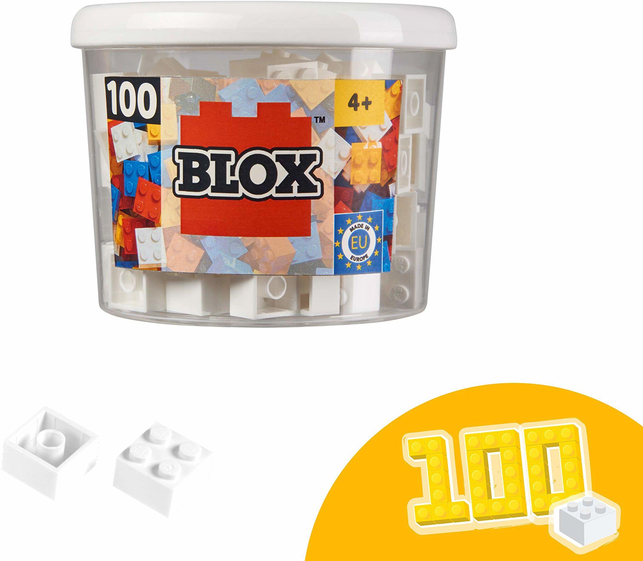 Simba 104114113, Blox, 100 białych klocków dla dzieci od 3 lat, 4 kamienie, w zestawie puszka, wysoka jakość, w pełni kompatybilne z produktami innych producentów